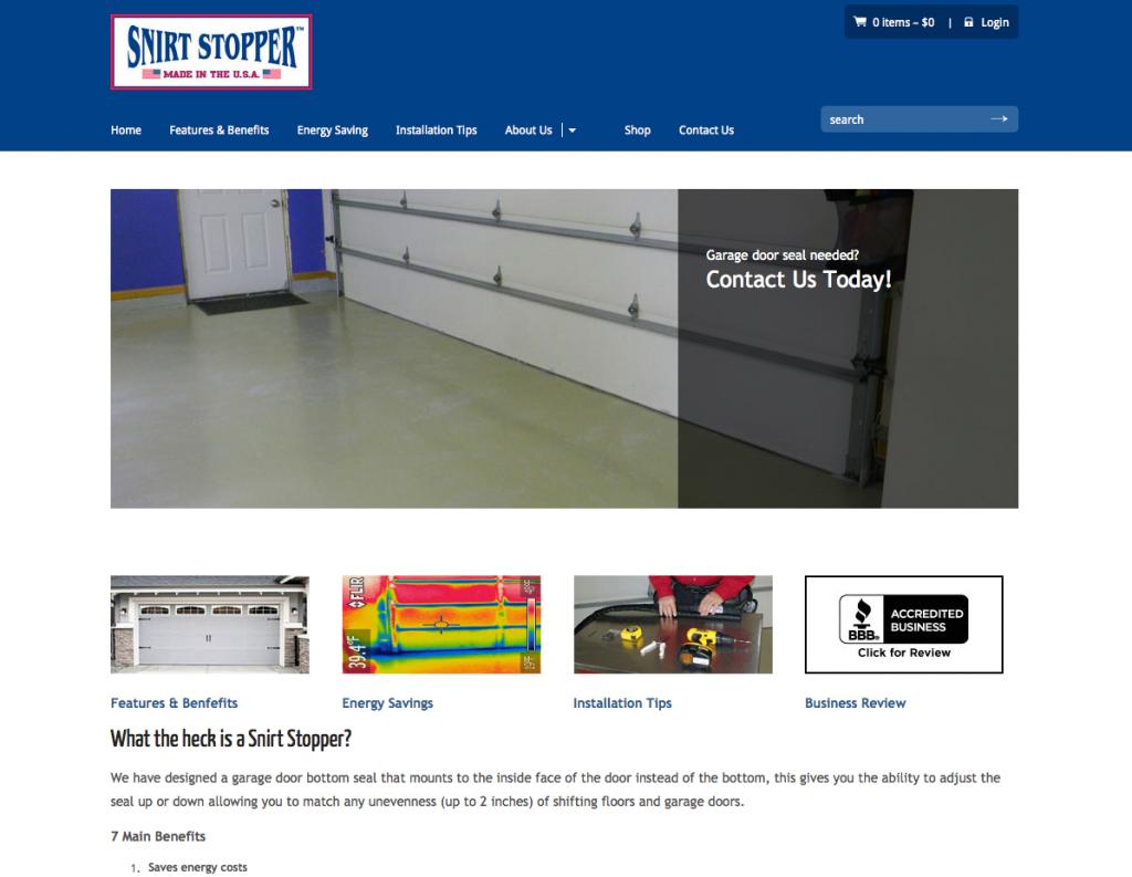 snirt stopper website design
