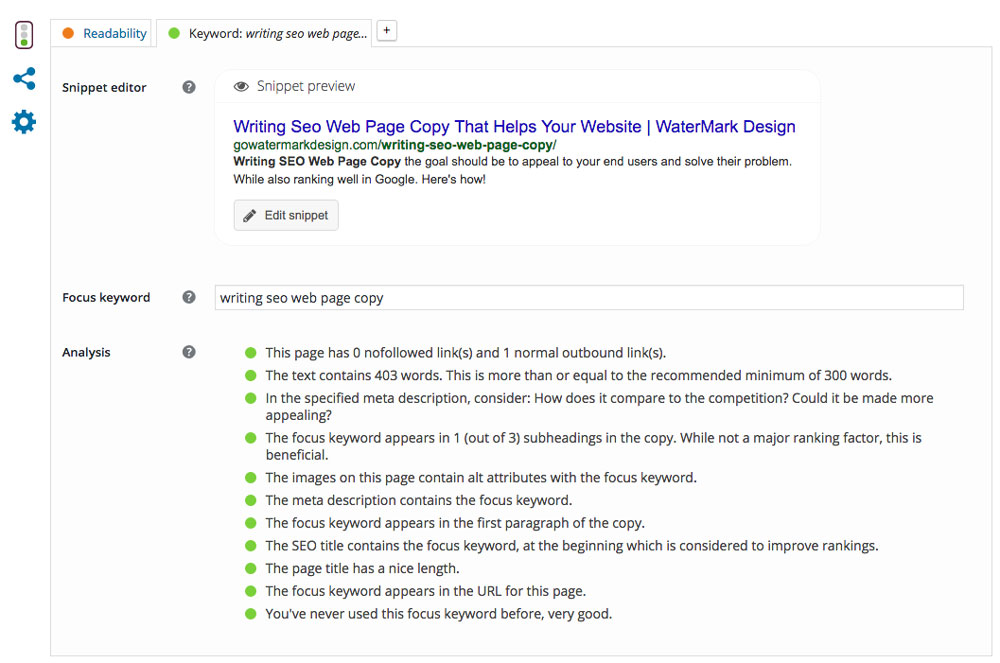 on page checklist writing seo web page copy